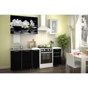 1.5 м кухня с фотопечатью «Черная орхидея»