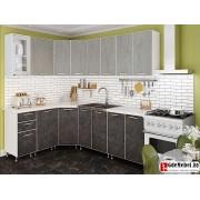 3.7 м угловая кухня цвет Бетон темный / светлый