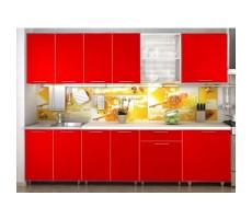 Кухня «Радуга» цвет Красный - 2.4 м