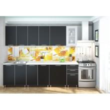 Кухня «Радуга» цвет Черное дерево - 2.6 м