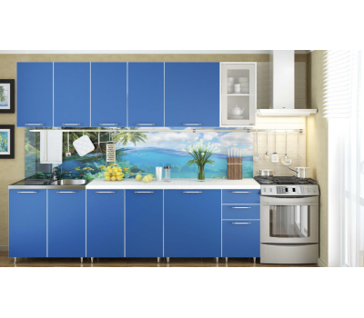Кухня «Радуга» цвет Морской - 2.6 м