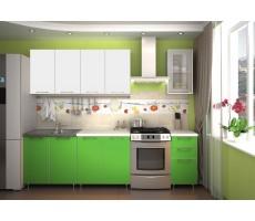 Кухня «Радуга» цвет Белый / Зеленый - 2 м