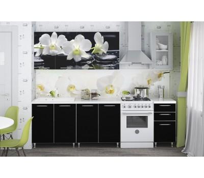 Кухня с фотопечатью «Черная Орхидея» - 2 м