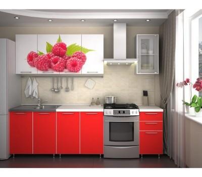 Кухня с фотопечатью «Малина» - 2 м