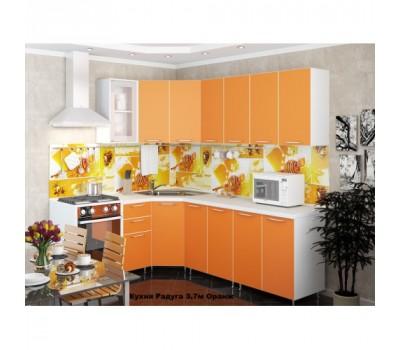 Угловая кухня «Радуга» цвет Оранж - 3.7 м.