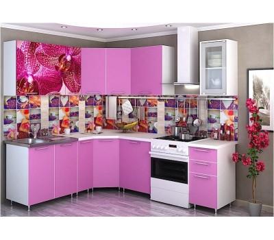 Угловая кухня с фотопечатью «Орхидея каприче» - 3.8 м