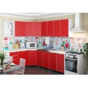 Угловая кухня «Радуга» цвет Красный - 4.3 м