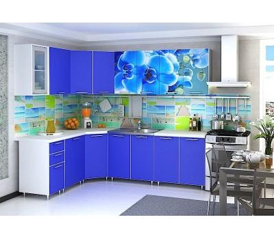 Угловая кухня с фотопечатью «Орхидея синяя» - 4.3 м