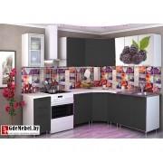 Угловая кухня с фотопечатью «Ежевика» - 3.8 м
