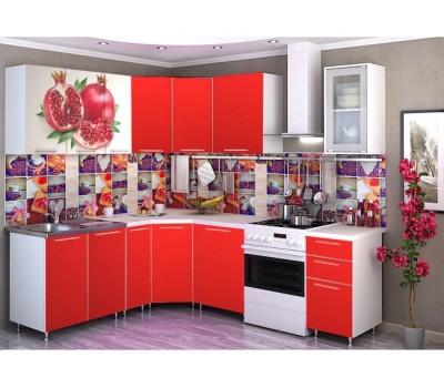 Угловая кухня с фотопечатью «Гранат» - 3.8 м