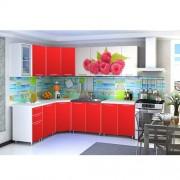 Угловая кухня с фотопечатью «Малина» - 4.3 м