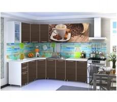Угловая кухня с фотопечатью «Кофе» - 4.3 м.